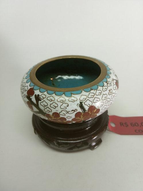 Urna baixa de Cobre branca flor vermelha com pedestal - China