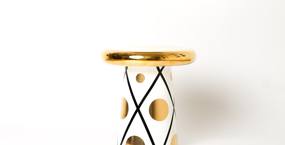 T-TABLE WHITE, GOLD & BLACK