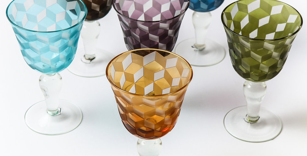 MULTICOLOR BLOCKS WINE GLASS SET