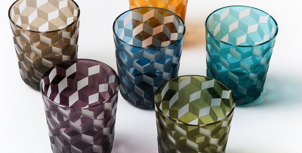 MULTICOLOR BLOCKS GLASS SET