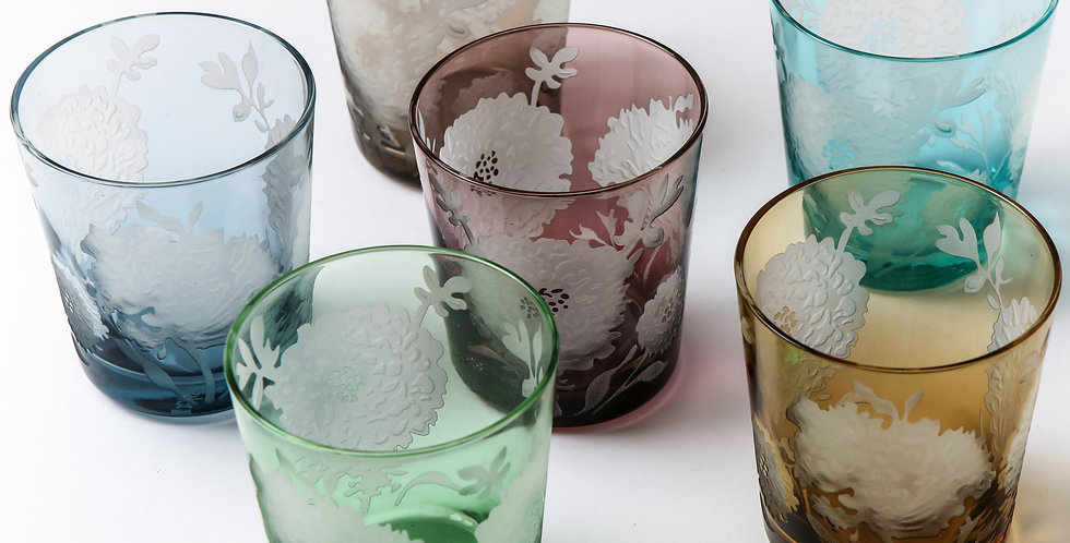 MULTICOLOR PEONY GLASS SET
