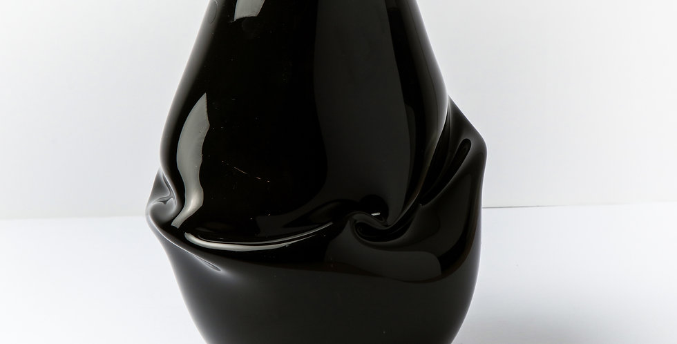 GLASS BLACK ASYMMETRIC VASE