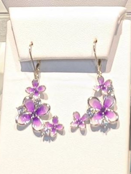 Sterling Silver Lilac Leverback Earrings