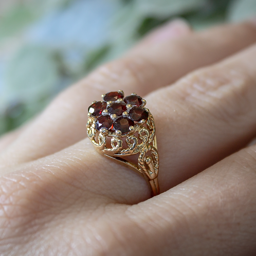 Vintage Garnet Flower Ring