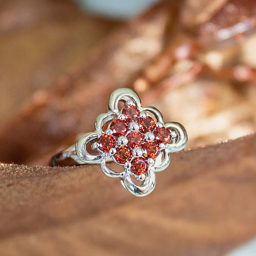 Floral Garnet Ring