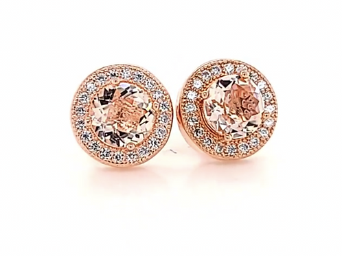 Round Lab-Morganite Earrings