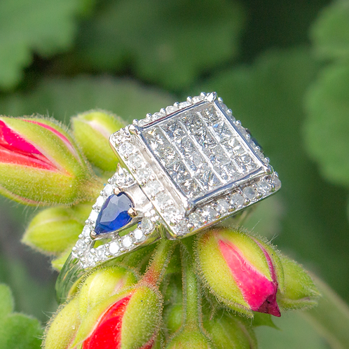 Diamond and Sapphire Square Ring
