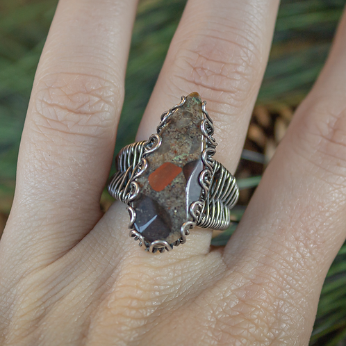 Oblong Puddingstone Ring in Silver