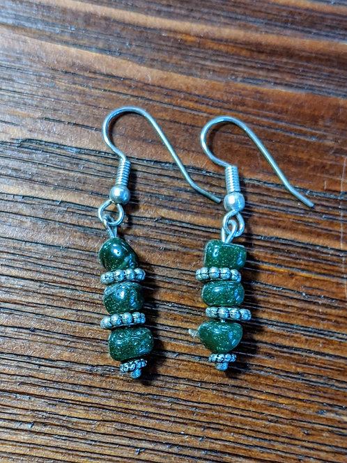 Mackinac Green Slag Glass Earrings 2