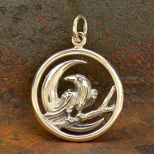 Crescent Moon & Raven Necklace