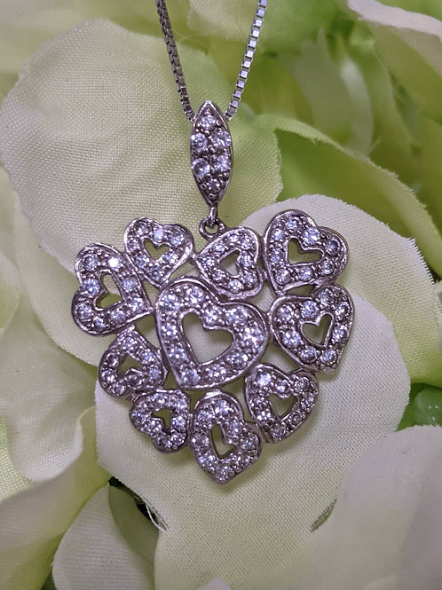 Sterling Silver & CZ Heart Pendant