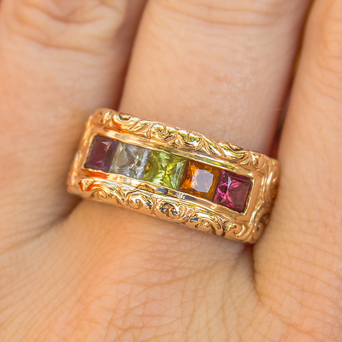 Multi-Gem Band in Yellow Gold