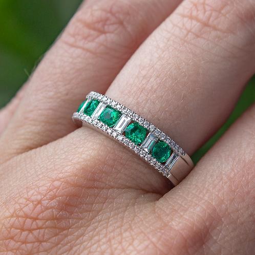 Emerald & Diamond Band in White Gold