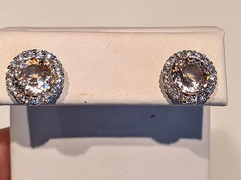 Lab Morganite and CZ Earrings