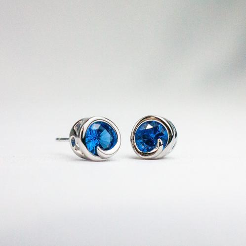 Blue Spinel Wave Earrings
