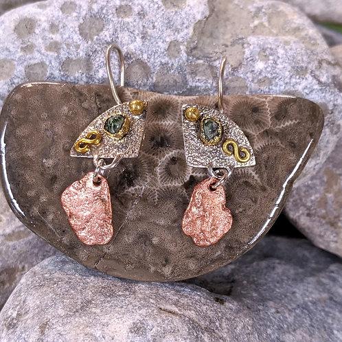 Copper, Bronze & Greenstone Earrings