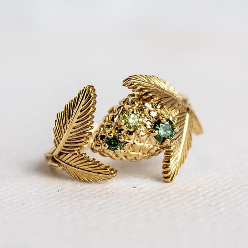 Green Diamond Pine Cone Ring