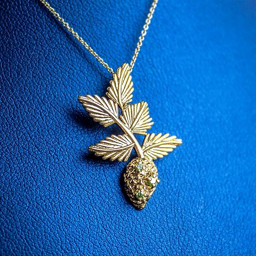Small Green Diamond Pine Cone Necklace