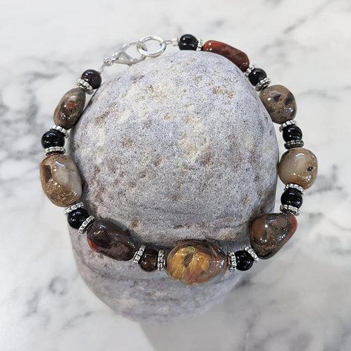 Pudding Stone & Onyx Bracelet