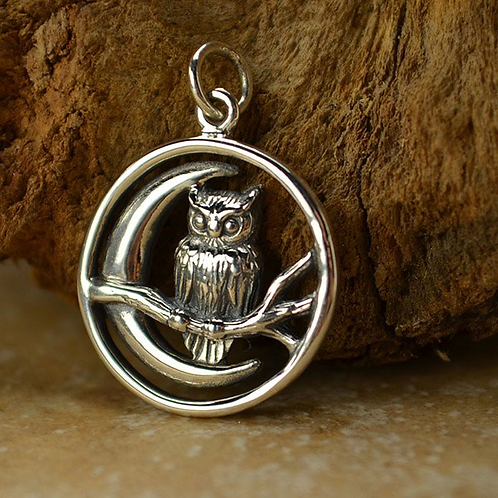 Crescent Moon Owl Necklace