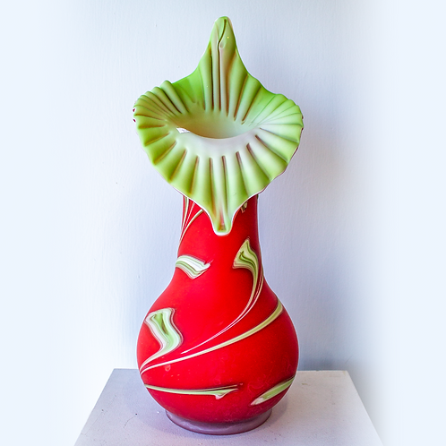 Red Flowertop Hand Blown Vase