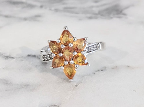 Orange Sapphire Star Ring
