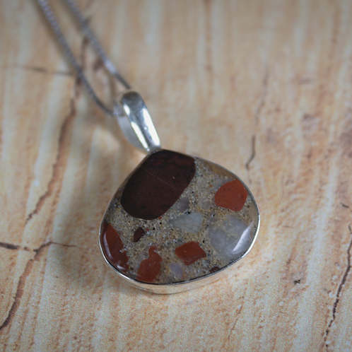 Wide-Bezel Pudding Stone Pendant