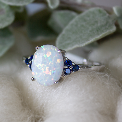 Oval Opal Ring in Sterling Silver