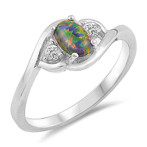 Lab-Created Black Opal Ring