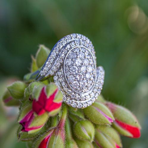 White Diamond Oval Ring