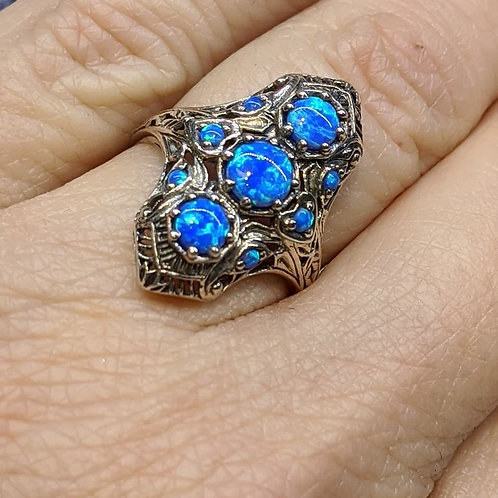Antique Silver and Lab-Created Opal Ring