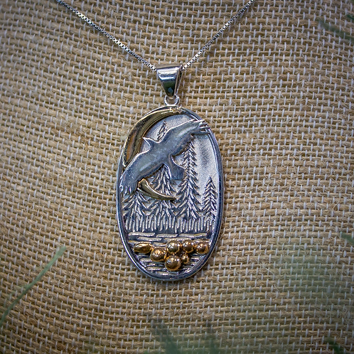 Soaring Eagle with Crescent Moon Necklace