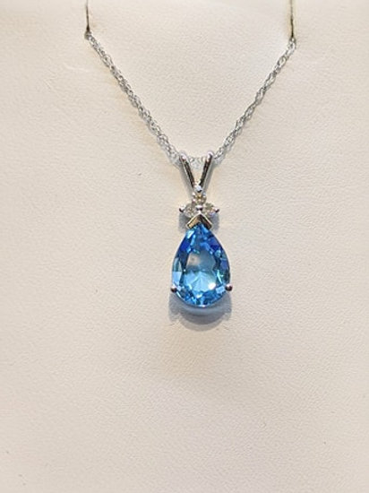 Swiss Blue Topaz Tear Drop Pendant