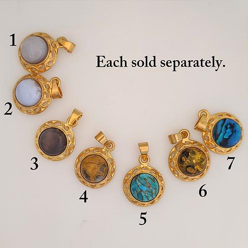 Gold-Plated Gem Pendants