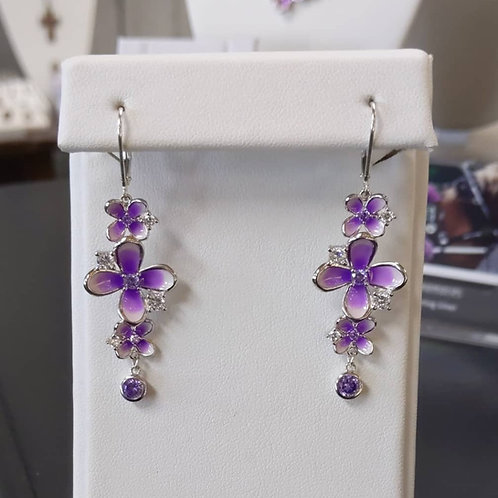 Sterling Silver Lilac Leverback Earrings