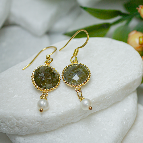 Labradorite & Pearl Earrings