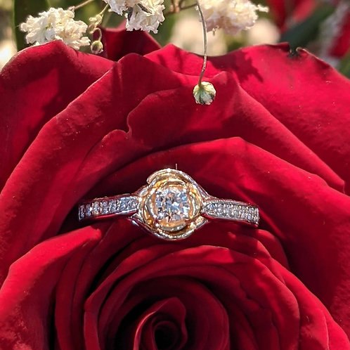 14kt White & Yellow Gold Rose Diamond Ring