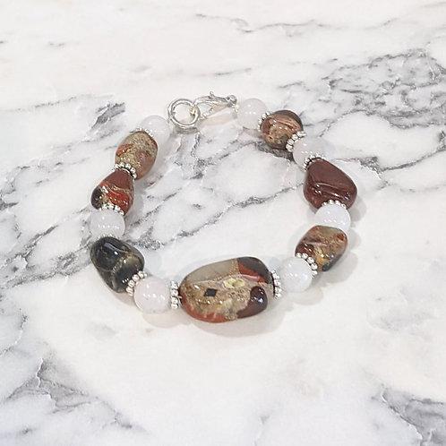 Pudding Stone & White Bead Bracelet