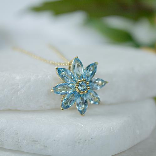 Floral Blue Topaz Necklace