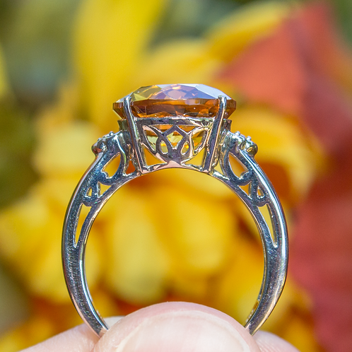 Sterling Silver With Citrine And White Topaz Round Ring