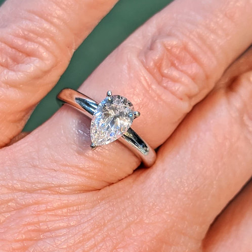 1ct Pear CZ Ring