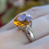 Thumbnail: Sterling Silver With Citrine And White Topaz Round Ring