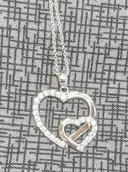 Double Heart Sterling Silver CZ Necklace