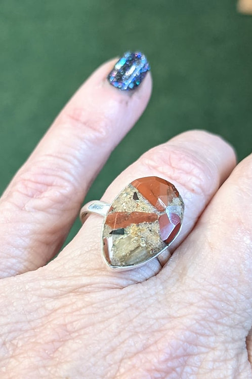 Pudding Stone Tear Drop Ring