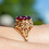Thumbnail: Vintage Garnet Flower Ring
