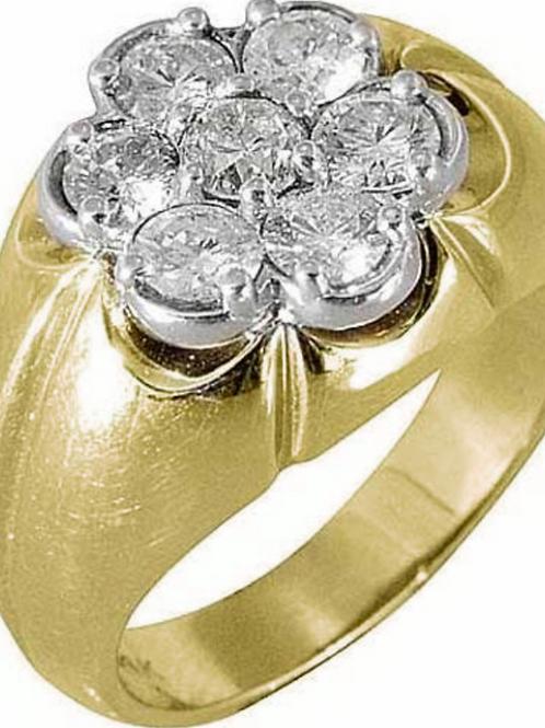 Men's Diamond Flower Ring