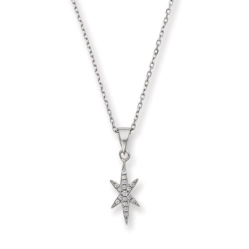 Silver Northern Star CZ Necklace