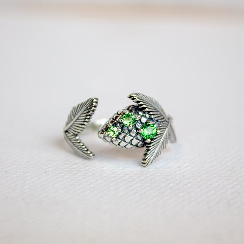 Tsavorite Garnet Pine Cone Ring
