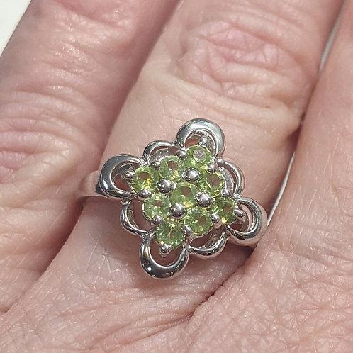 Floral Peridot Ring