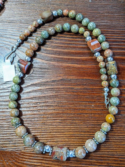 Autumn Jasper and Pudding Stone Necklace